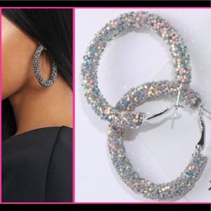 NEW! Silver iridescent statement hoops